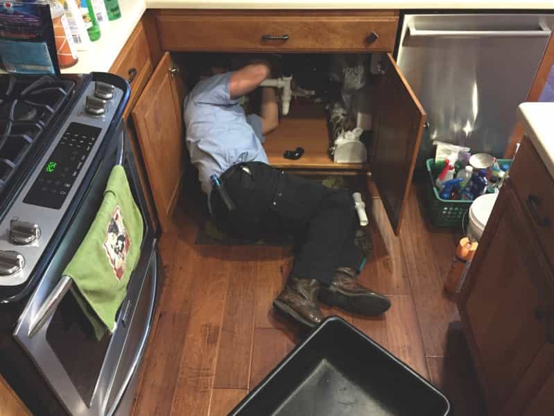 Fixing the kitchen sink. maintenance